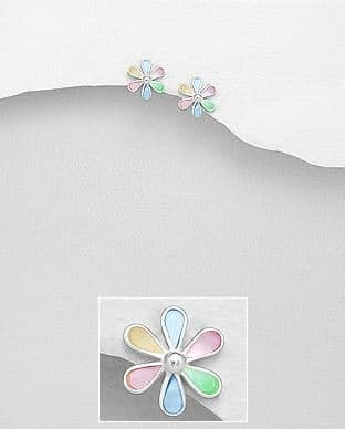 Copy of Sterling Silver Small Flower Shape Stud Earrings Set With Mixed Cultured Shell
